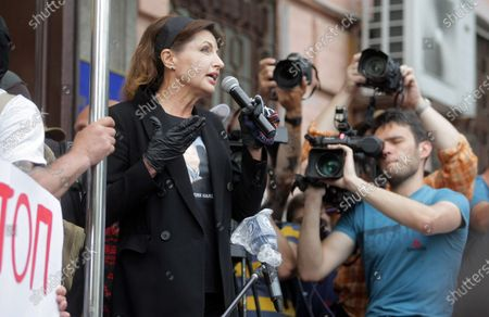 Wife of the Fifth President of Ukraine Petro Poroshenko, Maryna Poroshenko speaks into the microphone outside the Pechersk district court which will choose measures of restraint for her husband in the case of designation of Serhii Semochko to a post of Deputy Head of the Foreign Intelligence Service, Kyiv, Ukraine.