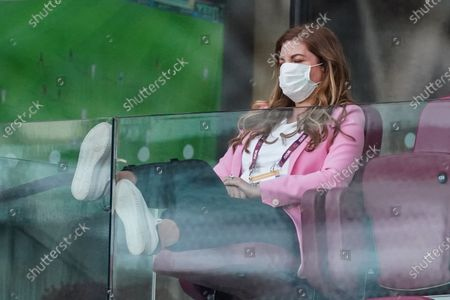 Karren Brady, Vice-Chairman of West Ham United, closes her eyes in dejection as West Ham lose 2-0