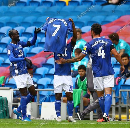 Stock Picture of Junior Hoilett of Cardiff City celebrates scoring a goal to make the score 1-0 with a tribute to Peter Whittingham