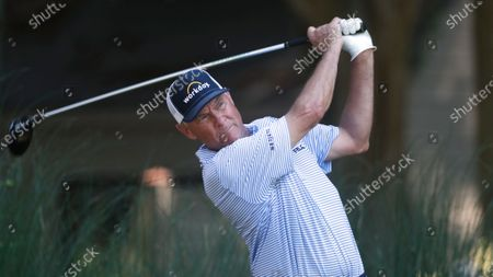 Davis Love III tees off during the second round of the RBC Heritage golf tournament, in Hilton Head Island, S.C