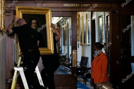 Editorial image of Removal of Paintings from East Staircase of the Speakers lobby in the US Capitol, Washington, District of Columbia, USA - 18 Jun 2020