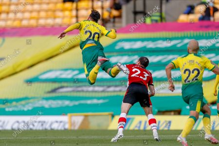 Norwich City forward Josip Drmic (20)  flies through the air  during the Premier League match between Norwich City and Southampton at Carrow Road, Norwich