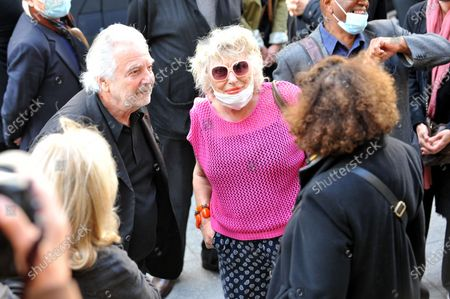 Pierre Arditi and Catherine Lachens at the funeral of Maurice Marechal at the Saint-Roch Church