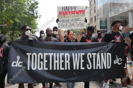 Editorial photo of NBA Wizards and WNBA Mystics players march to support Black Lives Matter, Washington DC, USA - 19 Jun 2020
