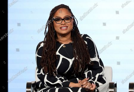 """Ava DuVernay speaks at the OWN: Oprah Winfrey Network's """"Cherish the Day"""" series panel during the Discovery Network TCA 2020 Winter Press Tour in Pasadena, Calif. John Legend, Gabrielle Union and Ava DuVernay are some of the many black cultural leaders who have signed a letter to fight against racism, promote equal pay and ask industries to disassociate from police. The letter was released Friday, June 19, 2020 by a new organization called the Black Artists for Freedom, which describes itself as a collective of black workers in the culture industries"""
