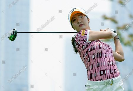 OH Ji-hyun of South Korea at the hole#1 during the third round of KIA Motors Korea Women's Open Golf Championship at the Bear's Best CheongNa Golf Club in Incheon, South Korea on June 20, 2020.  South Korea reported 12,306 accumulated new coronavirus cases on June 19.