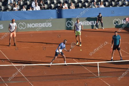 Stock Image of Aleksander Zverev, Goran Ivanisevic , Danilo Petrovic and Marin Cilic (L-R) entertain the audience during an exhibition match of Adria Tour tennis tournament in Zadar, Croatia, June 19, 2020. Adria Tour is organized by Serbia's tennis player Novak Djokovic in order to promote sports, positive values and fair play, and also to raise funds for those who need help.