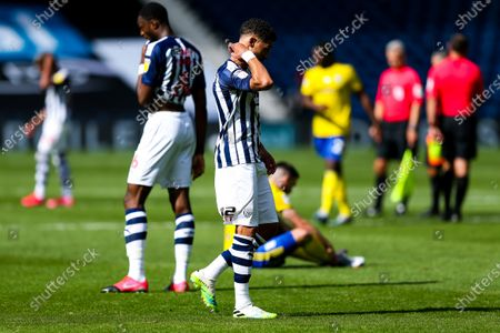 Kieran Gibbs of West Bromwich Albion looks frustrated after the game ends goalless as Championship Football returns from it's Covid-19 enforced break