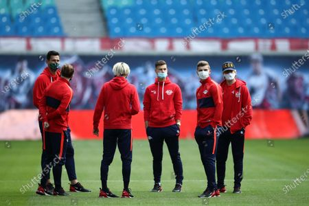 (2nd L-R) Marcel Sabitzer, Kevin Kampl, Tom Krauß, Timo Werner and Emil Forsberg of RB Leipzig are seen with face masks ahead the Bundesliga match between RB Leipzig and Borussia Dortmund at Red Bull Arena in Leipzig, Germany, 20 June 2020.