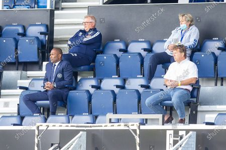 Queens Park Rangers Director of Footbal Les Ferdinand (front left) and Queens Park Rangers Chief Executive Officer CEO Lee Hoos (white shirt) during the EFL Sky Bet Championship match between Queens Park Rangers and Barnsley at the Kiyan Prince Foundation Stadium, London
