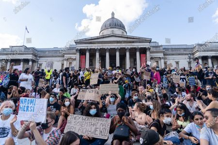 People gather in Trafalgar Square during a Black Lives Matter protest in central London, Britain, 20 June 2020. Demonstrators gathered to express their feelings in regard to the death of 46-year-old African-American George Floyd while in police custody. A bystander's video posted online on 25 May appeared to show George Floyd pleading with arresting officers that he couldn't breathe as an officer knelt on his neck, in Minnesota, USA.