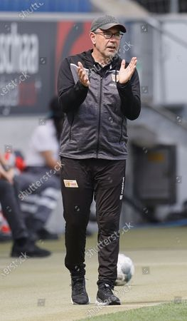 Union's head coach Urs Fischer reacts during the German Bundesliga soccer match between TSG 1899 Hoffenheim and 1. FC Union Berlin at PreZero Arena in Sinsheim, Germany, 20 June 2020.
