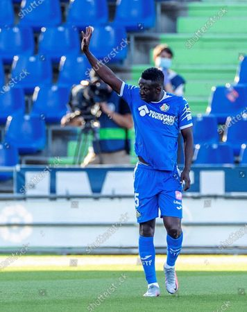 Getafe's Oghenekaro Etebo celebrates after scoring during the Spanish LaLiga soccer match played at the Getafe's Alfonso Perez coliseum in Madrid, Spain, 20 June 2020.