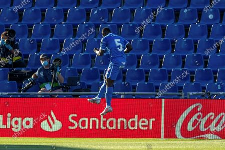 Getafe's Oghenekaro Etebo celebrates after scoring during the Spanish LaLiga soccer match between Getafe and Eibar played at the Getafe's Alfonso Perez coliseum in Madrid, Spain, 20 June 2020.