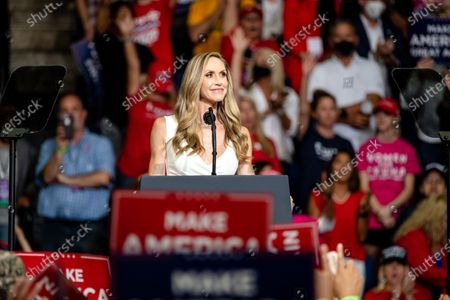 Lara Yunaska Trump speaks during a campaign rally at the BOK Center. This was Trump's first rally since the Covid 19 Pandemic began. Infection rates in the state of Oklahoma continue to rise.