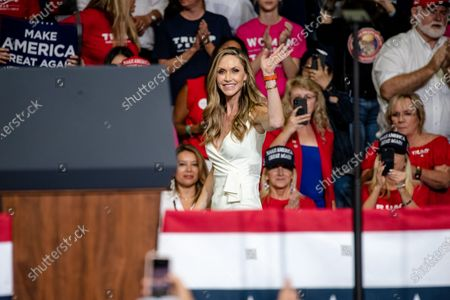 Stock Photo of Lara Yunaska Trump waves the the crowd during a campaign rally at the BOK Center. This was Trump's first rally since the Covid 19 Pandemic began. Infection rates in the state of Oklahoma continue to rise.