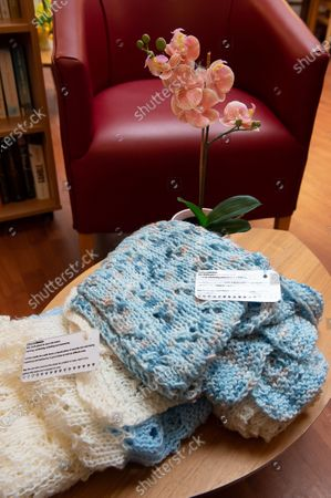 Prayer shawls at The Sue Ryder Duchess of Kent Hospice in Reading, Berkshire. The Hospice has been rated Outstanding by the Care Quality Commission. They have 15 in patient beds and are based near to the Royal Berkshire Hopsital in Reading