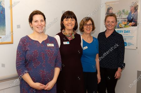 Staff Natasha Saunders, Georgie Sullivan, Linda Turner and Annabelle Rennie at The Sue Ryder Duchess of Kent Hospice in Reading, Berkshire. The Hospice has been rated Outstanding by the Care Quality Commission. They have 15 in patient beds and are based near to the Royal Berkshire Hopsital in Reading