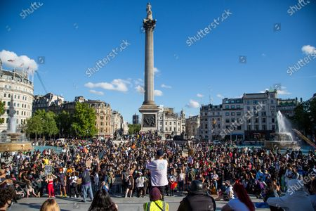An activist speaks to the protesters in Trafalger square during the demonstration. Black Lives Matter protests continue in The UK since the death of George Floyd at the hands of police officer in Minneapolis.