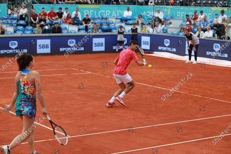 Novak Djokovic and Jelena Jankovic played an exhibition double match against Olga Danilovic and Nenad Zimonjic