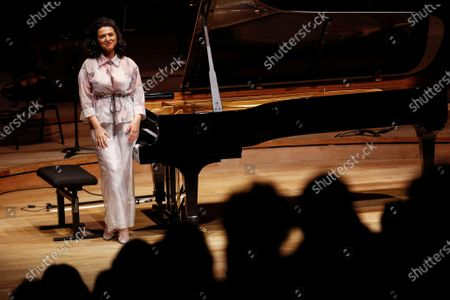 French-Georgian pianist Khatia Buniatishvili reacts as she performs at the Philharmonie in Paris as part as the France's annual music festival, France, 21 June 2020. France's annual music festival (Fete de la musique) runs every 21 June to mark the summer's start.