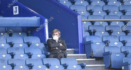 Former Liverpool player Kenny Dalglish sits on the stands during the English Premier League soccer match between Everton FC and Liverpool FC in Liverpool, Britain, 21 June 2020.