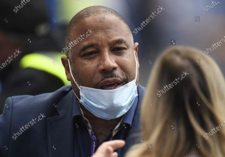 Former Liverpool player John Barnes at the end of the English Premier League soccer match between Everton FC and Liverpool FC in Liverpool, Britain, 21 June 2020.