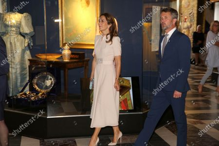 "Denmark Queen Margrethe II and Crown Princess Mary and Crown Prince Frederik attending the opening of the exhibition ""The Queen's Faces"" The Knight's Hall and the portrait revelation at the National History museum at Frederiksborg palace in Hillerod, Denmark."