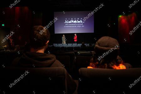Australian filmmaker Kitty Green (C, left) and Cinema Nova CEO Kristian Connelly (R, right) speak during a special breakfast screening of Australian filmmaker Kitty Green's film 'The Assistant' during the reopening of Cinema Nova in Melbourne, Australia, 22 June 2020.
