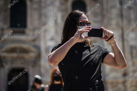 Italian singer Manuel Agnelli protests with artists, to draw attention to the conditions of the world of music post lockdown at the Duomo in Milan