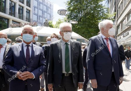 (R-L) German Interior Minister Horst Seehofer, Baden-Wuerttemberg's State Premier Winfried Kretschmann and Baden-Wuerttemberg's Minister Interior Minister Thomas Strobl visit the downtown shopping area of Stuttgart, southern Germany, 22 June 2020. Several hundreds of rioting youths vandalized and looted dozens of shops in the center of Stuttgart, the capital of the federal state of Baden-Wuerttemberg, in the early morning of 21 June 2020, reports state. The rioters also hurled rocks at police officers until the situation calmed down around 3 am. Authorities have yet to provide an explanation about what exactly sparked the unrest.