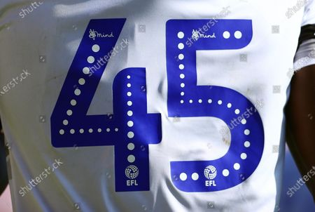 The EFL/Mind numbering on the number 45 shirt of Frank Nouble of Colchester United