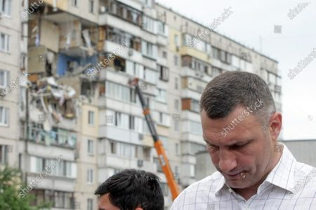 Kyiv city head Vitali Klitschko visits the scene of the explosion in a nine-storey building in the Darnytskyi district of Kyiv, capital of Ukraine. An explosion went off on Sunday morning, June 21, killing three people. Another three people are missing while 100 residents will have to leave their homes. The investigation is ongoing.
