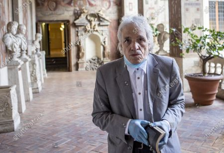 Director and actor Abel Ferrara poses after reading poems inspired by the 'Suicide Gaul', composed by the Italian poet Gabriele Tinti at Palazzo Altemps' National Roman Museum in Rome
