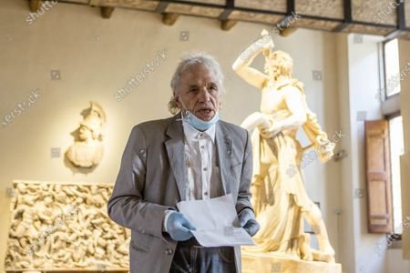 Director and actor Abel Ferrara reads poems inspired by the 'Suicide Gaul', composed by the Italian poet Gabriele Tinti, at Palazzo Altemps' National Roman Museum in Rome