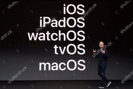 Handout image released by Apple showing Apple CEO Tim Cook delivering the keynote address during the 2020 Apple Worldwide Developers Conference (WWDC) at Steve Jobs Theater in Cupertino, California, USA 22 June 2020. WWDC, in its 31st year and held virtually for the first time, runs through June 26.