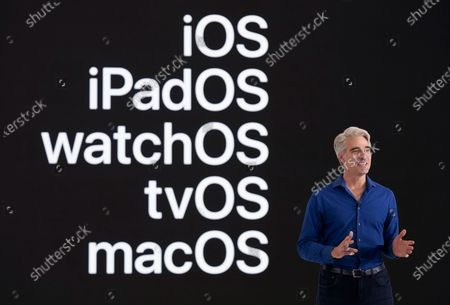 Handout image released by Apple showing Apple's senior vice president of Software Engineering Craig Federighi speaks during the keynote address at the 2020 Apple Worldwide Developers Conference (WWDC) at Steve Jobs Theater in Cupertino, California, USA 22 June 2020. WWDC, in its 31st year and held virtually for the first time, runs through June 26.