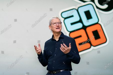 Handout image released by Apple showing Apple CEO Tim Cook as he delivers the keynote address during the 2020 Apple Worldwide Developers Conference (WWDC) at Steve Jobs Theater in Cupertino, California, USA 22 June 2020. WWDC, in its 31st year and held virtually for the first time, runs through June 26.