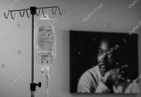 During the coroniavirus global pandemic an IV bag hangs at Martin Luther King, Jr., Community Hospital on Wednesday, April 15, 2020 in the Emegancy Department in Los Angeles, CA. The IV bag is near a portrait of Dr. Martin Luther King. Martin Luther King, Jr., Community Hospital (MLKCH) is located in the Willowbrook neighborhood of South Los Angeles located between Compton and Watts. The hospital opened in 2015, replacing old Martin Luther King Jr./Drew Medical Center. (Francine Orr / Los Angeles Times)