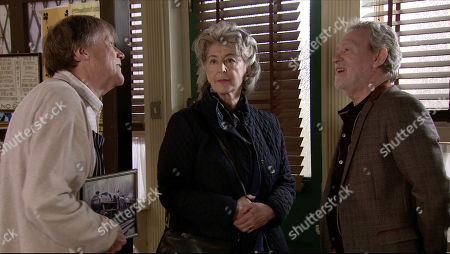 Coronation Street - Ep 10082 Wednesday 1st June 2020 Evelyn Plummer, as played by Maureen Lipman and Arthur Medwin, as played by Paul Copley meet up for a coffee and a cake in the cafe. To Evelyn's irritation, Roy Cropper, as played by David Neilson and Arthur discover they have a shared love of steam trains. When Roy suggests they meet in the Rovers later to discuss the Carlisle to Settle line in more detail, Arthur's delighted whilst Evelyn forces a smile.