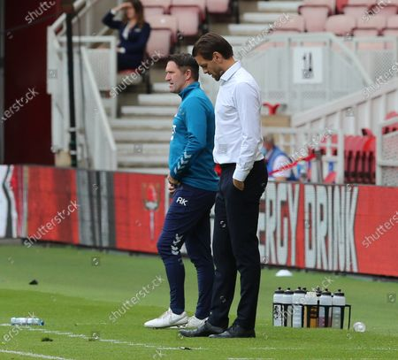 Jonathan woodgate Middlesbrough head coach at his last match before relieved of his position today with robbie Keane his assistant.(L) 23-6-20