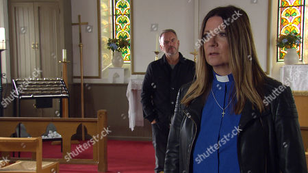 Emmerdale - Ep 8806 Friday 10th July 2020 Harriet Finch, as played by Katherine Dow-Blyton is meeting Malone, as played by Mark Womack in the church telling him she doesnÕt want him around anymore, but he makes it clear that heÕs not going anywhere. Harriet is left feeling threatened but also a little turned on by the danger of him. Eventually, she succumbs to his charms.