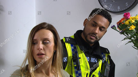 Emmerdale - Ep 8801 Monday 29th June 2020 Andrea Tate, as played by Anna Nightingale is hiding out at a hotel but when a police officer arrives. Andrea assures them she is safe and well, they explain Jamie is worried and urges her to contact him.