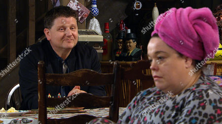 Emmerdale - Ep 8801 Monday 29th June 2020 Lydia Dingle, as played by Karen Blick suggests organising a fundraising event and Paul, as played by Reece Dinsdale offers his help. Lydia wonders if Mandy Dingle, as played by Lisa Riley is secretly concealing feelings for Paul.