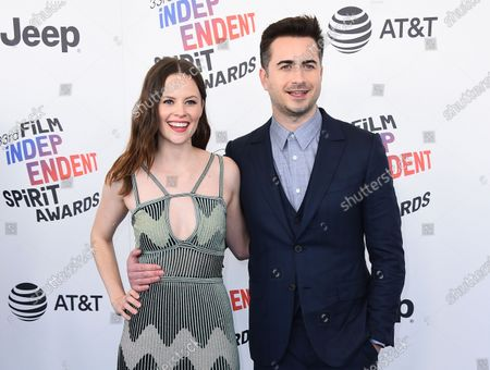 Actress Sarah Ramos, left, and director Matt Spicer arrive at the 33rd Film Independent Spirit Awards in Santa Monica, Calif. Ramos has recreated other notable scenes from TV and film and aims to post one a week online during the downtime caused by the outbreak of COVID-19. She calls them quarantscenes. Sometimes a friend such as O'Brien, Aubrey Plaza or Elle Fanning appear, but Ramos usually acts out all the parts herself. Her fiance, Spicer, also helps out when needed
