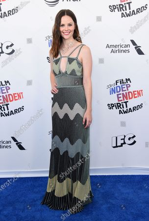 Actress Sarah Ramos arrives at the 33rd Film Independent Spirit Awards in Santa Monica, Calif. Ramos has recreated other notable scenes from TV and film and aims to post one a week online during the downtime caused by the outbreak of COVID-19. She calls them quarantscenes. Sometimes a friend such as O'Brien, Aubrey Plaza or Elle Fanning appear, but Ramos usually acts out all the parts herself
