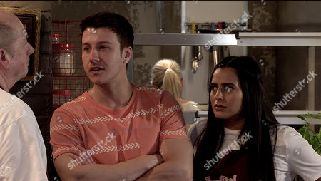 Coronation Street - Ep 10086 Friday 10th July 2020 Geoff Metcalfe, as played by Ian Bartholomew returns to work at Speed Dahl much to Alya Nazir's, as played by Sair Khan and Ryan Connor, as played by Ryan Prescott,  dismay.