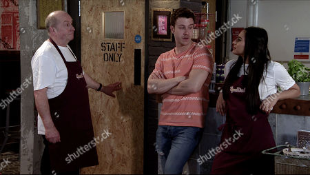 Coronation Street - Ep 10086 Friday 10th July 2020 Geoff Metcalfe, as played by Ian Bartholomew returns to work at Speed Dahl much to Alya Nazir's, as played by Sair Khan and Ryan Connor [RYAN PRESCOTT dismay.