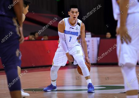 Jeremy Lin of Beijing Ducks drives the ball during a match between Beijing Ducks and Nanjing Tongxi Monkey Kings at the newly resumed 2019-2020 Chinese Basketball Association (CBA) league in Qingdao, east China's Shandong Province, on June 23, 2020.