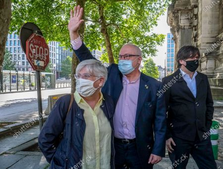 Stock Photo of Former members of the Catalan government Clara Ponsati, Lluis Puig and Carles Puigdemont arrives at a hearing at the Brussels Brussels' justice palace , in Brussels, Belgium, 23 June 2020. According to media reports, Belgian court postpones the judgment on extradition of former Catalan pro-independence leader Carles Puigdemont on 07 August 2020.